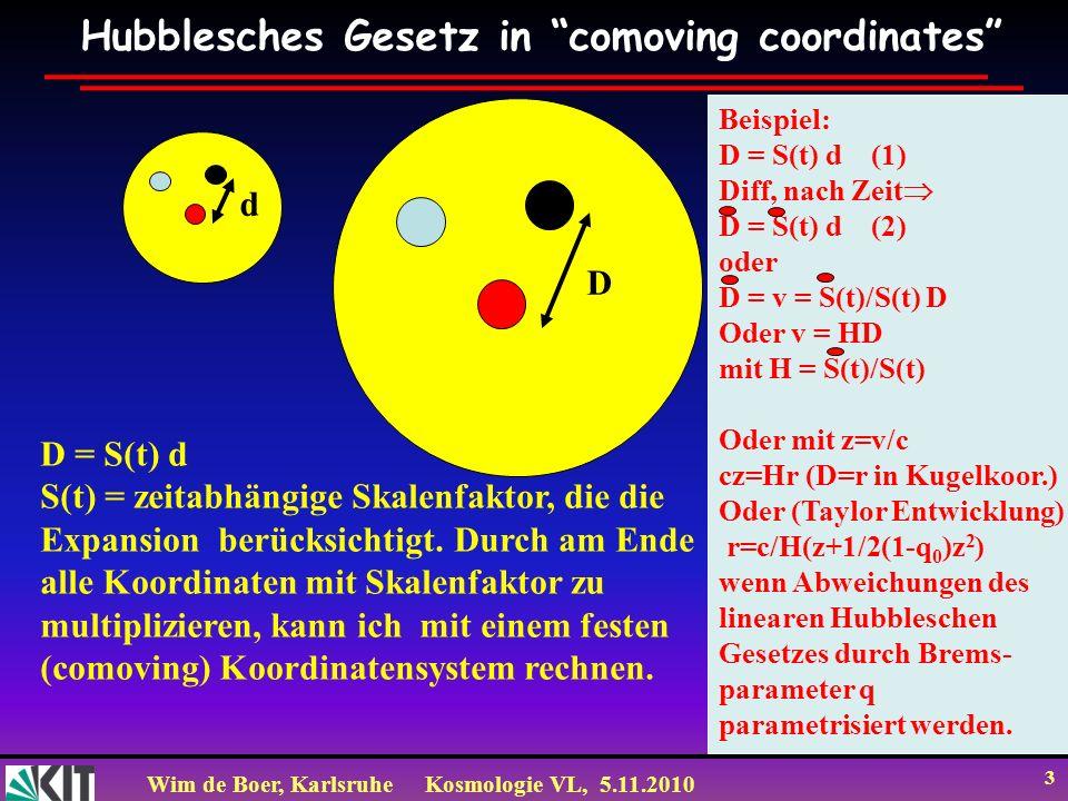 Wim de Boer, KarlsruheKosmologie VL, 5.11.2010 3 Hubblesches Gesetz in comoving coordinates d D D = S(t) d S(t) = zeitabhängige Skalenfaktor, die die
