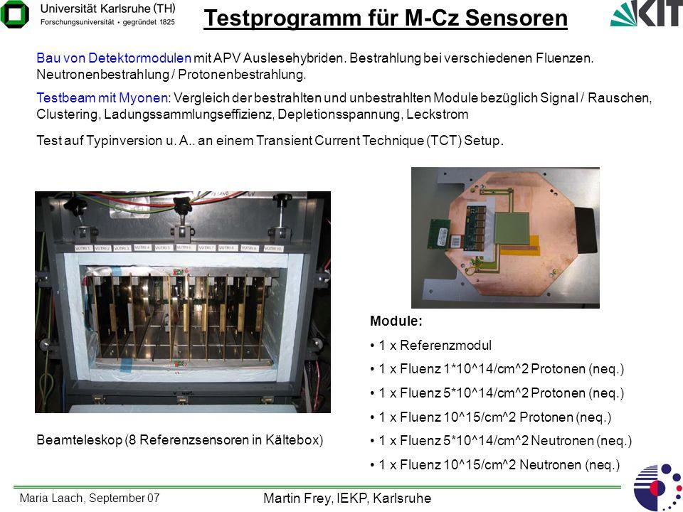 Maria Laach, September 07 Martin Frey, IEKP, Karlsruhe Testprogramm für M-Cz Sensoren Bau von Detektormodulen mit APV Auslesehybriden. Bestrahlung bei