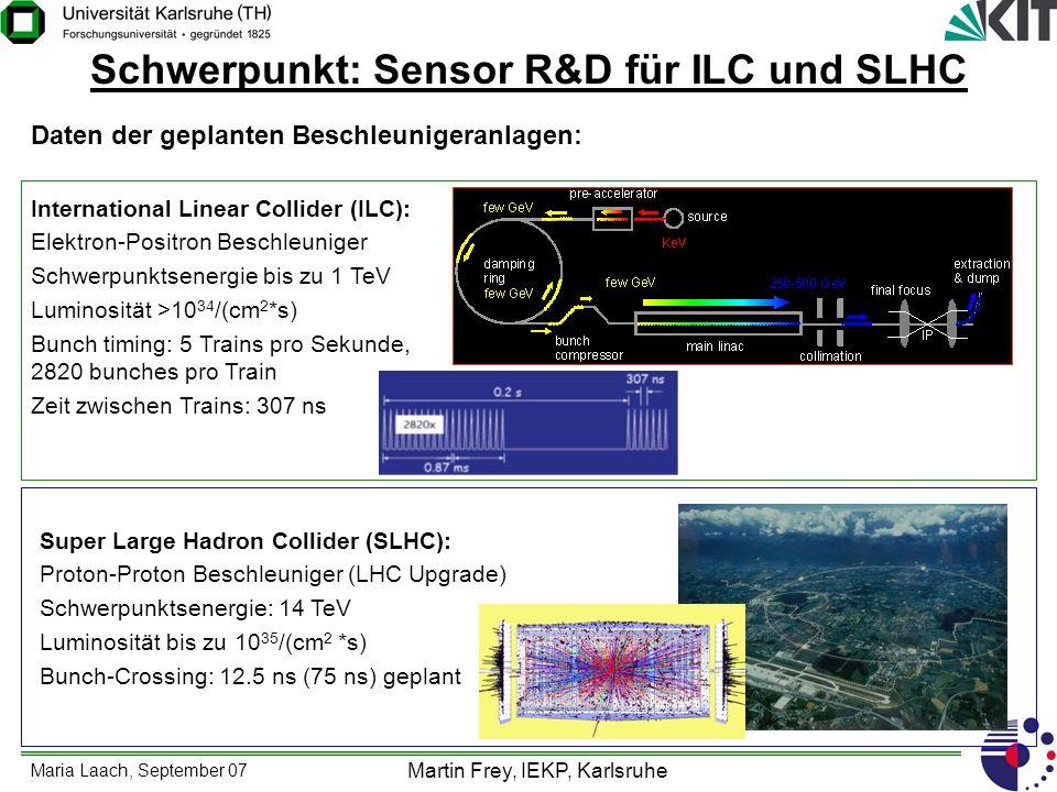Maria Laach, September 07 Martin Frey, IEKP, Karlsruhe Schwerpunkt: Sensor R&D für ILC und SLHC Daten der geplanten Beschleunigeranlagen: Internationa