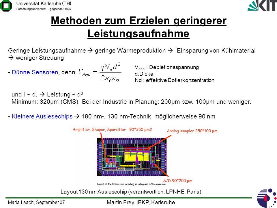 Maria Laach, September 07 Martin Frey, IEKP, Karlsruhe Methoden zum Erzielen geringerer Leistungsaufnahme Geringe Leistungsaufnahme geringe Wärmeprodu