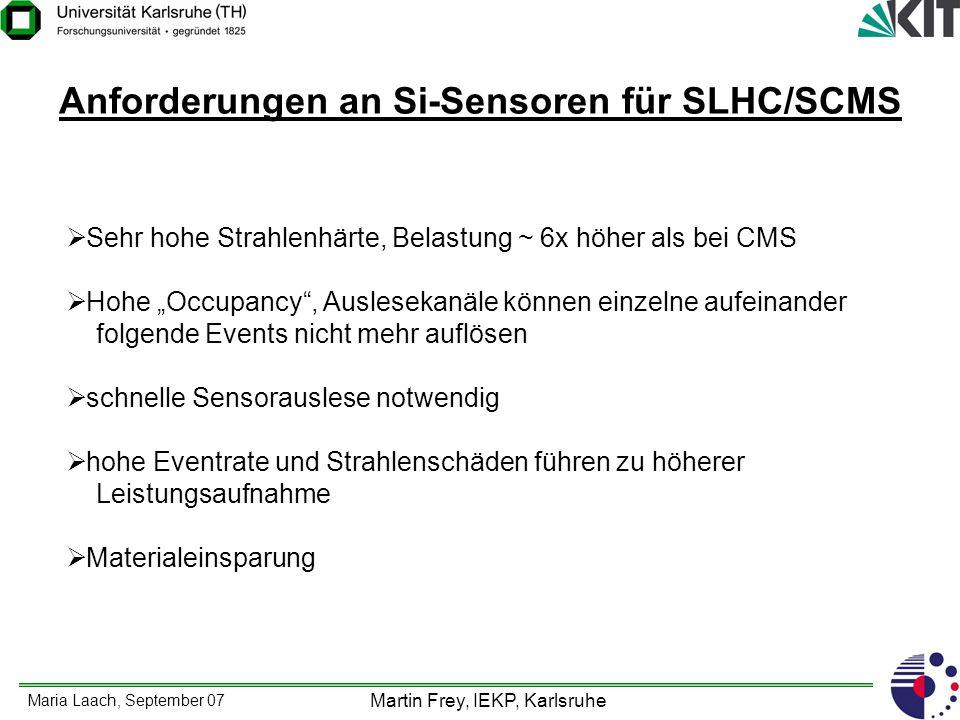 Maria Laach, September 07 Martin Frey, IEKP, Karlsruhe Anforderungen an Si-Sensoren für SLHC/SCMS Sehr hohe Strahlenhärte, Belastung ~ 6x höher als be