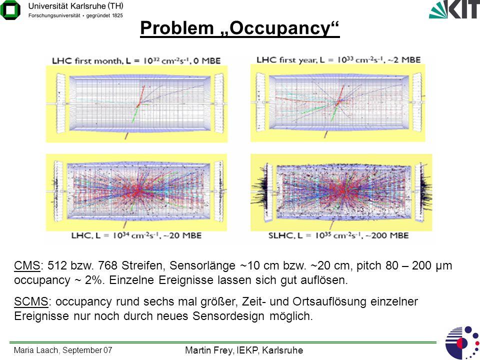Maria Laach, September 07 Martin Frey, IEKP, Karlsruhe Lösungsmöglichkeit für das Occupancy-Problems Pixelsensoren im inneren Detektorbereich, gefolgt von Strixelsensoren in weiter vom Wechselwirkungspunkt weg gelegenen Bereichen.