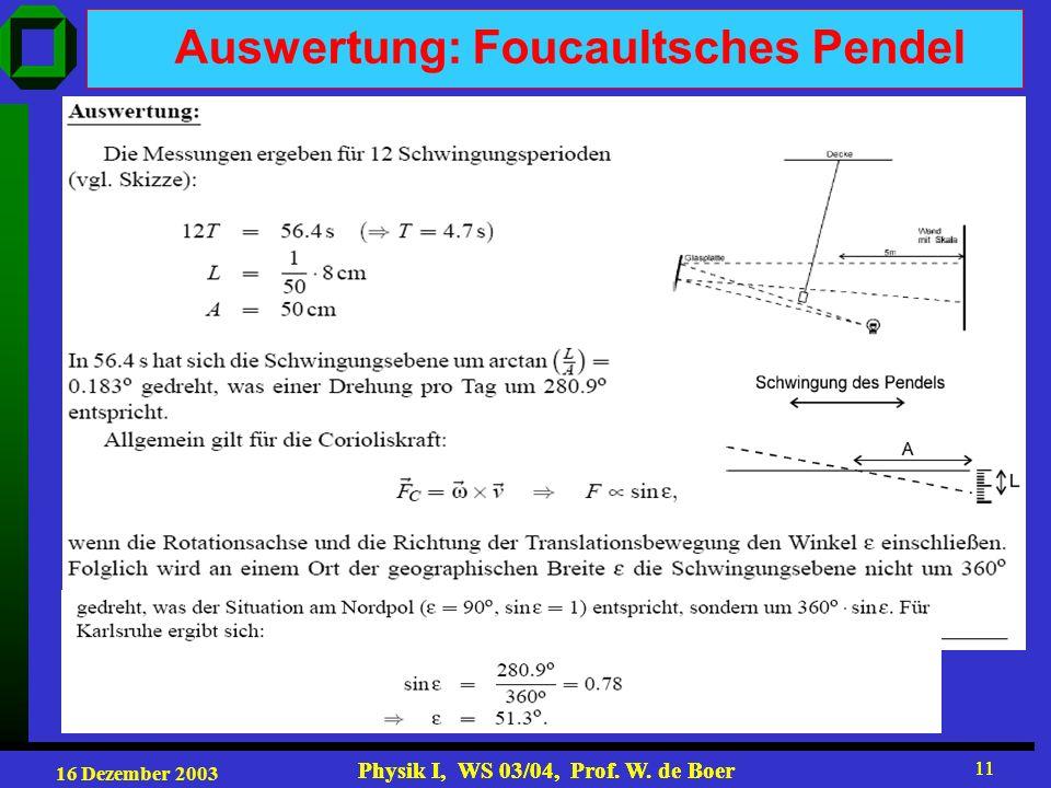 16 Dezember 2003 Physik I, WS 03/04, Prof. W. de Boer 11 Physik I, WS 03/04, Prof. W. de Boer 11 Auswertung: Foucaultsches Pendel