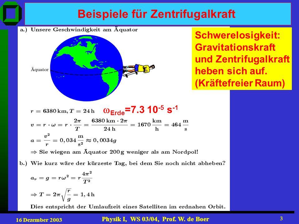 16 Dezember 2003 Physik I, WS 03/04, Prof. W. de Boer 3 3 Beispiele für Zentrifugalkraft Erde =7.3 10 -5 s -1 Schwerelosigkeit: Gravitationskraft und