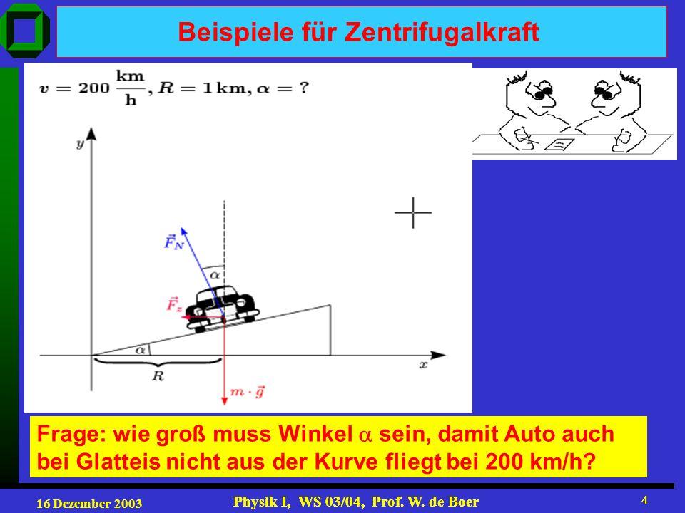 16 Dezember 2003 Physik I, WS 03/04, Prof. W. de Boer 4 4 Beispiele für Zentrifugalkraft Frage: wie groß muss Winkel sein, damit Auto auch bei Glattei
