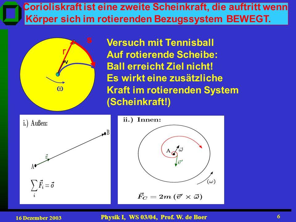 16 Dezember 2003 Physik I, WS 03/04, Prof. W. de Boer 6 6 Corioliskraft ist eine zweite Scheinkraft, die auftritt wenn Körper sich im rotierenden Bezu