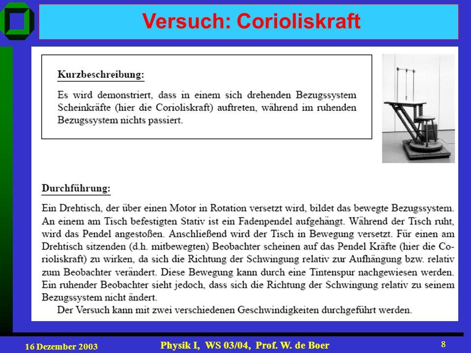 16 Dezember 2003 Physik I, WS 03/04, Prof. W. de Boer 8 8 Versuch: Corioliskraft