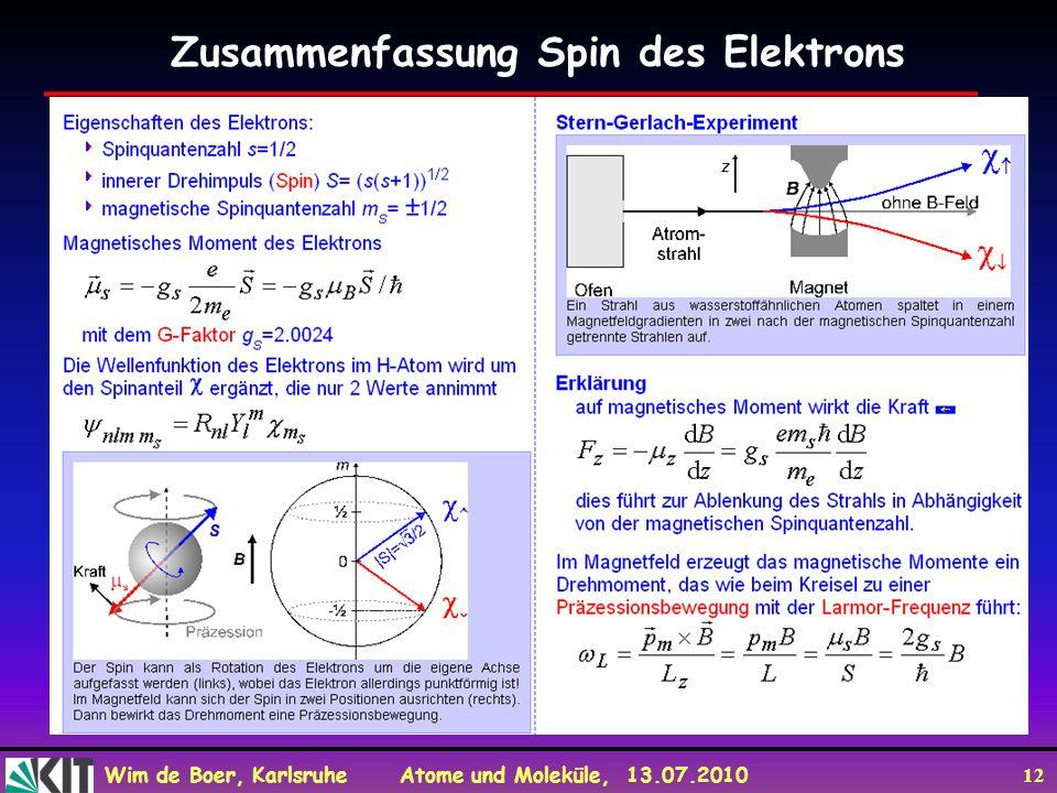 Wim de Boer, Karlsruhe Atome und Moleküle, 13.07.2010 12 Zusammenfassung Spin des Elektrons