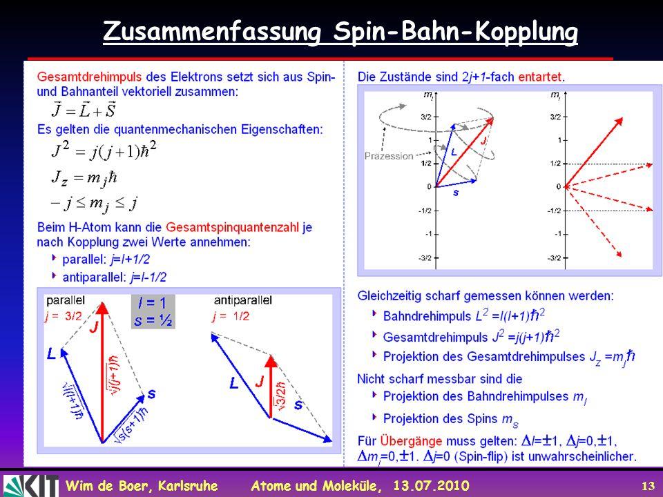 Wim de Boer, Karlsruhe Atome und Moleküle, 13.07.2010 13 Zusammenfassung Spin-Bahn-Kopplung