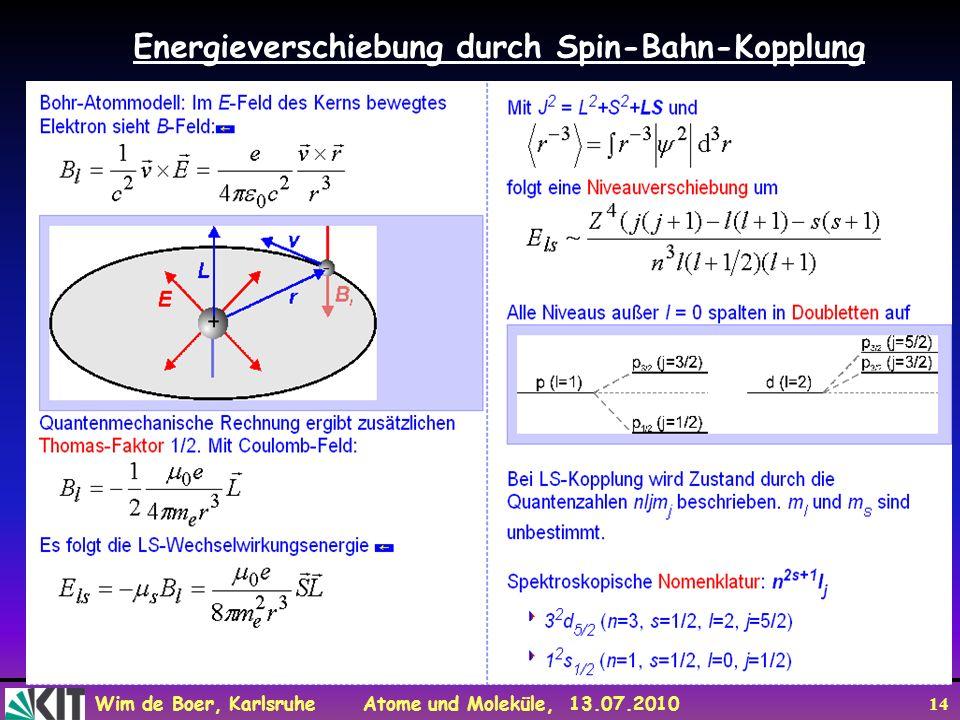 Wim de Boer, Karlsruhe Atome und Moleküle, 13.07.2010 14 Energieverschiebung durch Spin-Bahn-Kopplung