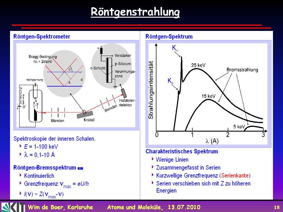 Wim de Boer, Karlsruhe Atome und Moleküle, 13.07.2010 18 Röntgenstrahlung