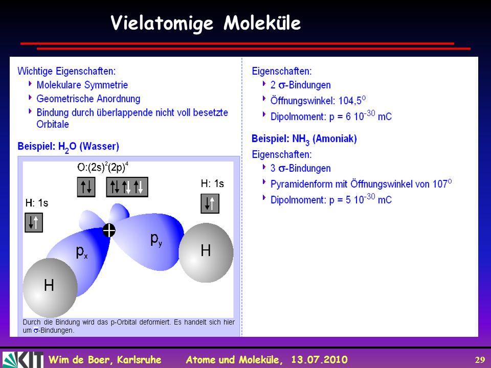 Wim de Boer, Karlsruhe Atome und Moleküle, 13.07.2010 29 Vielatomige Moleküle