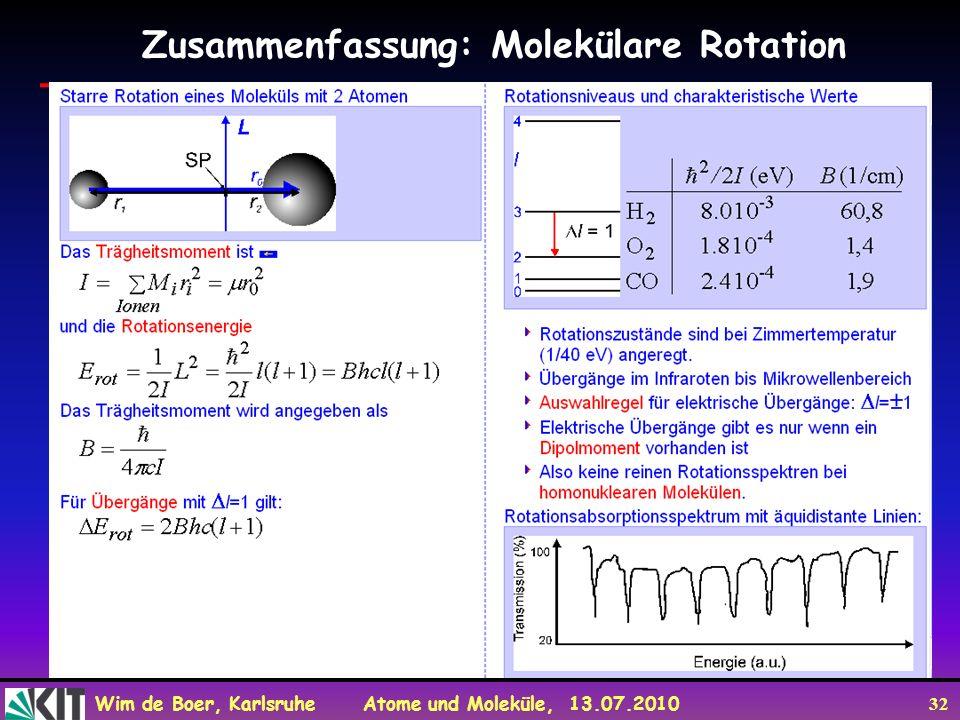 Wim de Boer, Karlsruhe Atome und Moleküle, 13.07.2010 32 Zusammenfassung: Molekülare Rotation