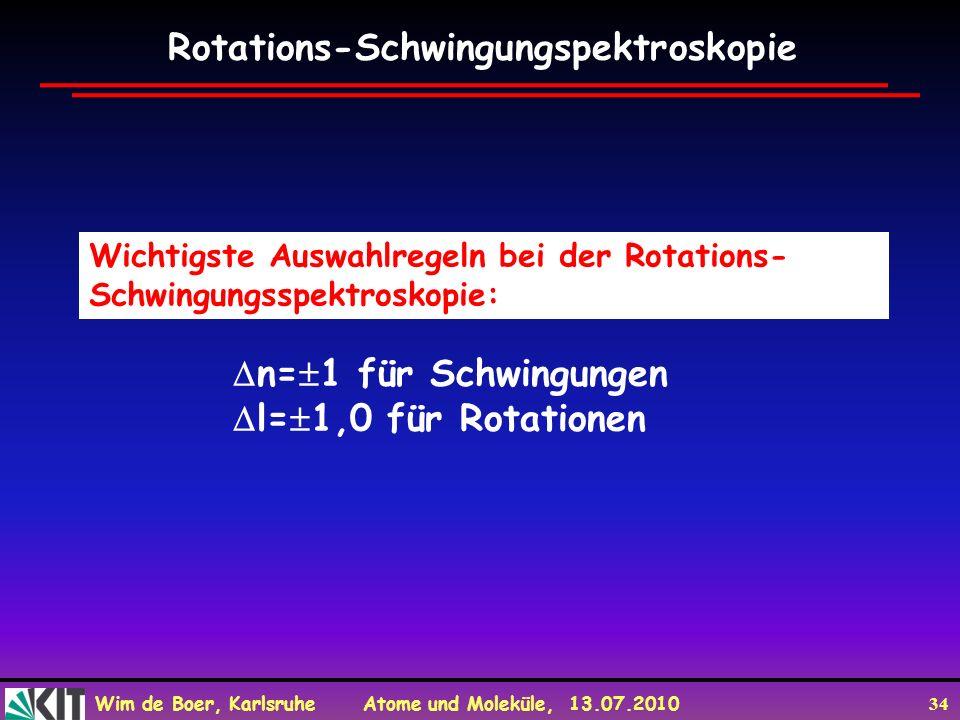 Wim de Boer, Karlsruhe Atome und Moleküle, 13.07.2010 34 Wichtigste Auswahlregeln bei der Rotations- Schwingungsspektroskopie: Rotations-Schwingungspe