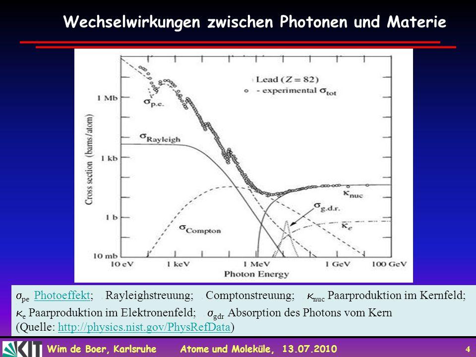 Wim de Boer, Karlsruhe Atome und Moleküle, 13.07.2010 4 Wechselwirkungen zwischen Photonen und Materie pe : Photoeffekt; : Rayleighstreuung; : Compton