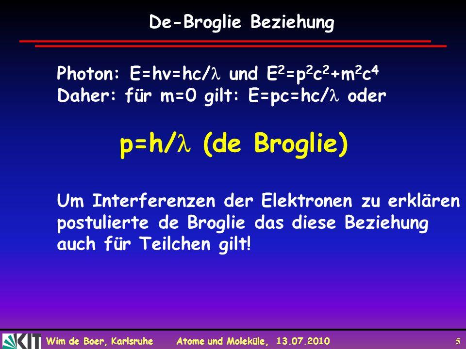 Wim de Boer, Karlsruhe Atome und Moleküle, 13.07.2010 5 De-Broglie Beziehung Photon: E=hv=hc/ und E 2 =p 2 c 2 +m 2 c 4 Daher: für m=0 gilt: E=pc=hc/