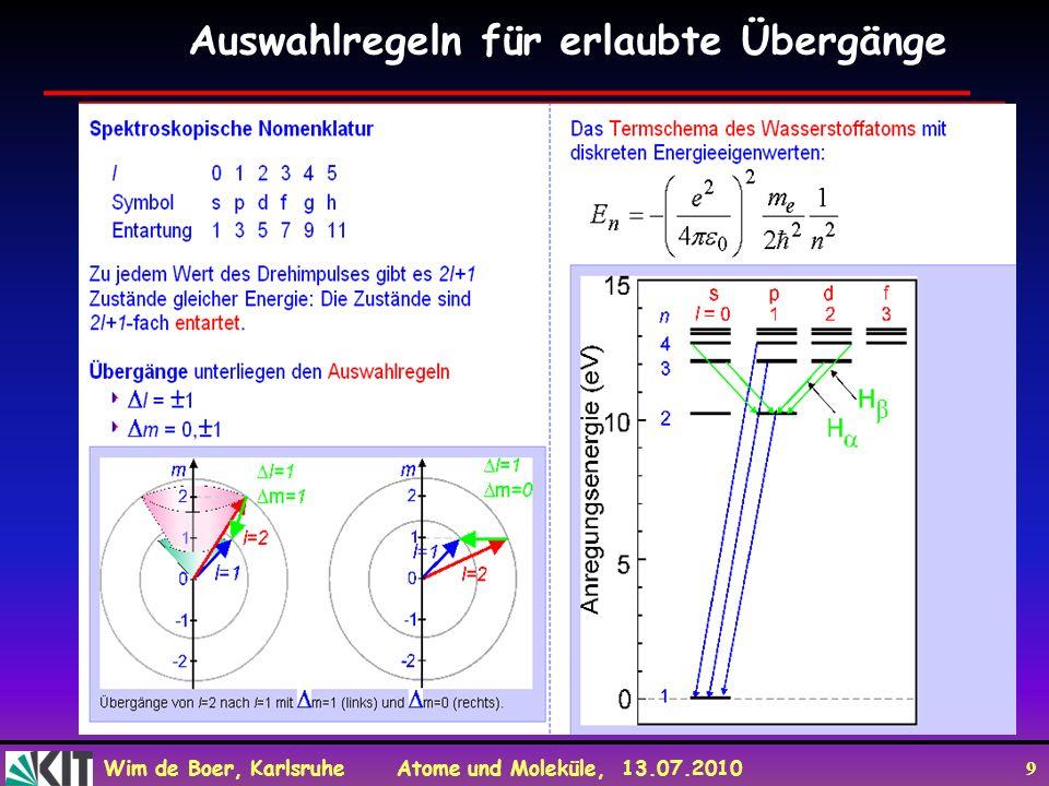 Wim de Boer, Karlsruhe Atome und Moleküle, 13.07.2010 9 Auswahlregeln für erlaubte Übergänge