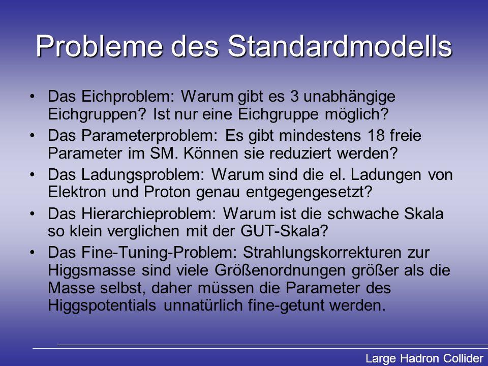 Large Hadron Collider Probleme des Standardmodells Das Eichproblem: Warum gibt es 3 unabhängige Eichgruppen? Ist nur eine Eichgruppe möglich? Das Para