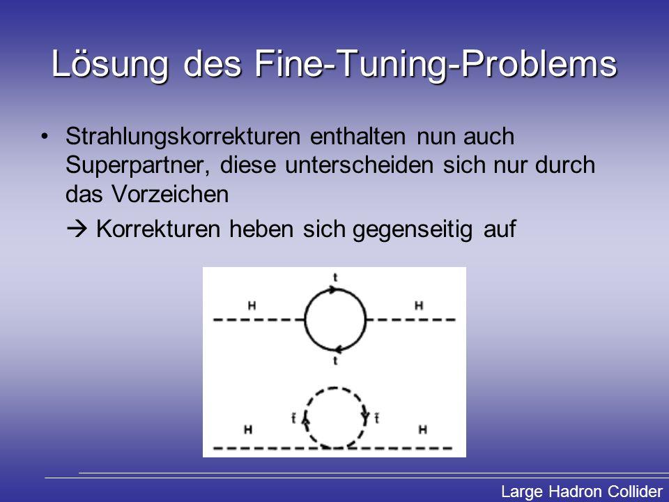 Large Hadron Collider Lösung des Fine-Tuning-Problems Strahlungskorrekturen enthalten nun auch Superpartner, diese unterscheiden sich nur durch das Vo