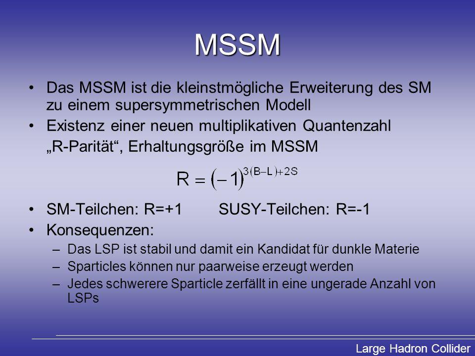 Large Hadron Collider MSSM Das MSSM ist die kleinstmögliche Erweiterung des SM zu einem supersymmetrischen Modell Existenz einer neuen multiplikativen