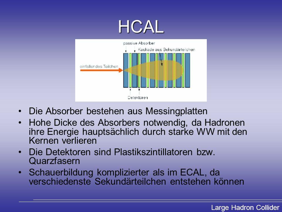 Large Hadron Collider HCAL Die Absorber bestehen aus Messingplatten Hohe Dicke des Absorbers notwendig, da Hadronen ihre Energie hauptsächlich durch s
