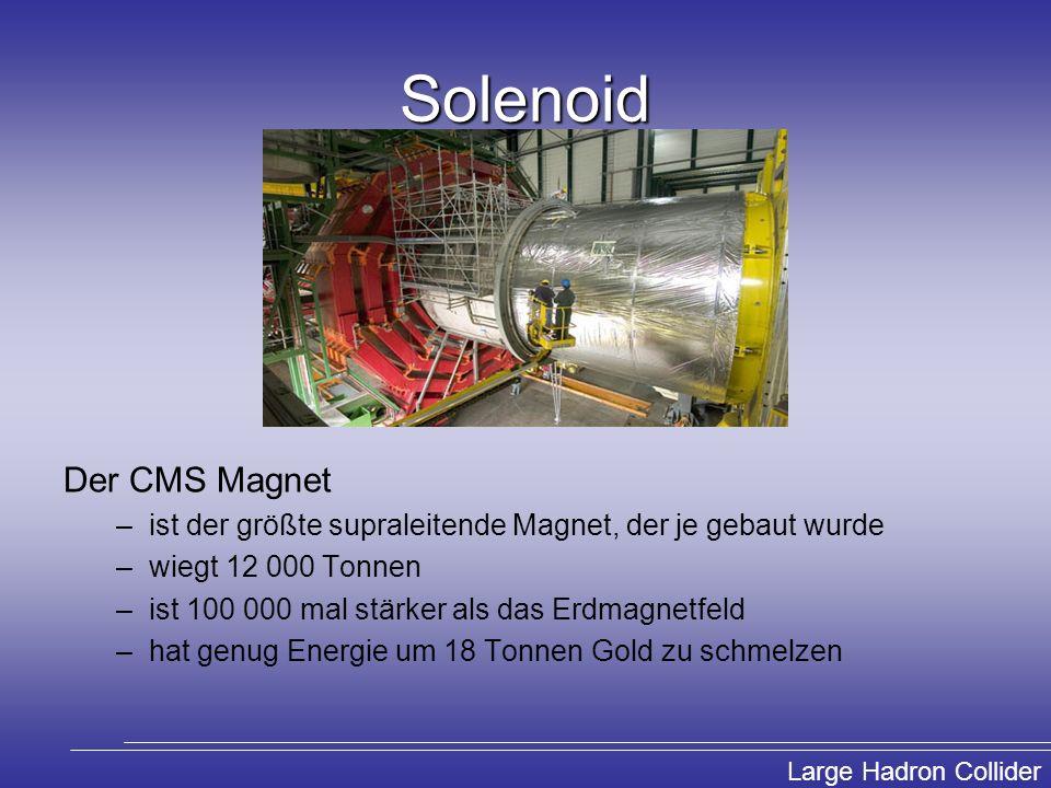 Large Hadron Collider Solenoid Der CMS Magnet –ist der größte supraleitende Magnet, der je gebaut wurde –wiegt 12 000 Tonnen –ist 100 000 mal stärker