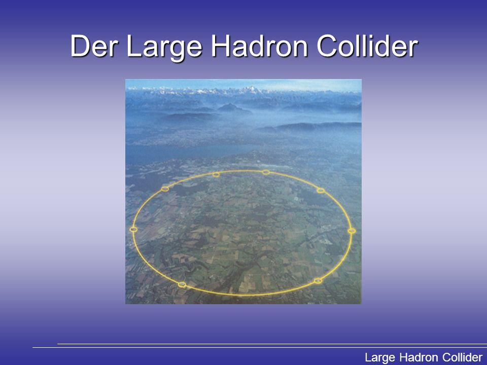 Large Hadron Collider Der LHC im Überblick 27 km Umfang 100 m unter der Erde 7 TeV pro Protonenstrahl Beschleunigung der p auf 99,9999991% von c LHCb: Untersuchung der CP Verletzung in B- Mesonensystemen ALICE: Erzeugung und Untersuchung eines Quark-Gluonen-Plasmas