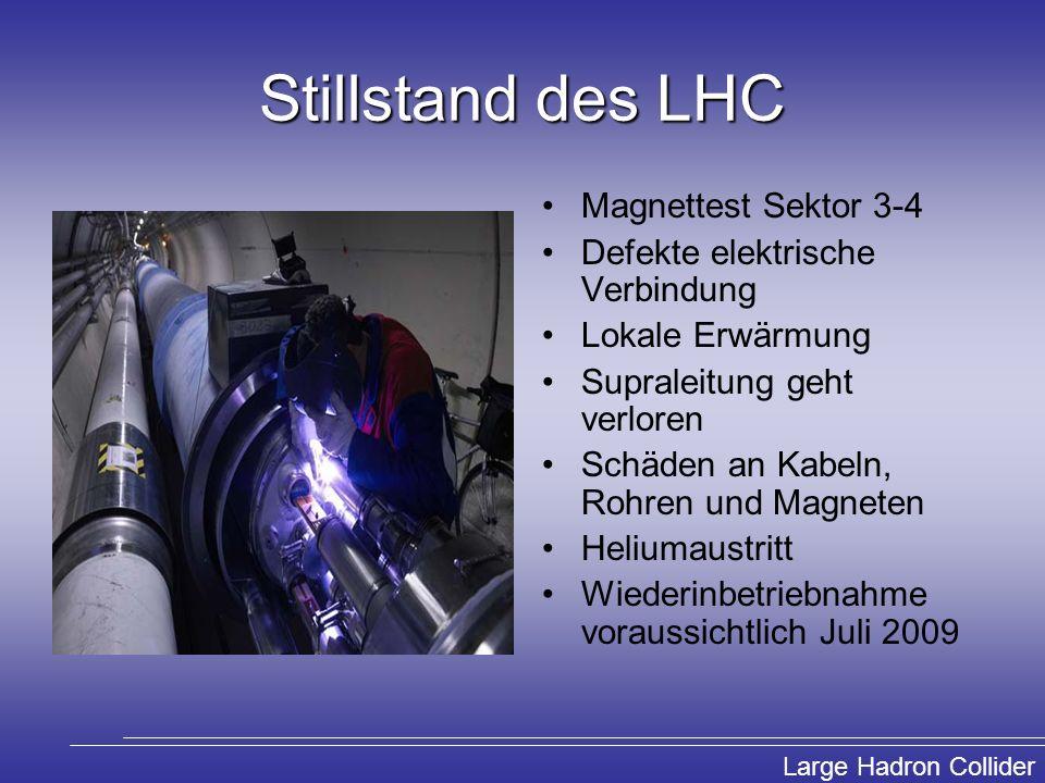 Large Hadron Collider Nachweis eines SUSY Ereignisses Zerfallskette der Sparticles endet mit den LSPs, die mit dem leichtesten Neutralino identifiziert werden Ohne WW mit normaler Materie können LSPs aus dem Detektor entkommen Nachweismöglichkeit durch fehlende Energie