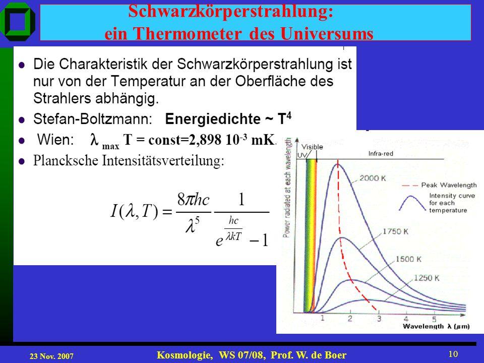 23 Nov. 2007 Kosmologie, WS 07/08, Prof. W. de Boer 10 Schwarzkörperstrahlung: ein Thermometer des Universums