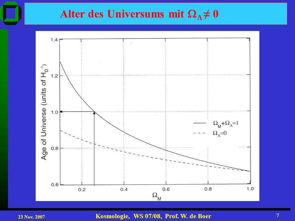 23 Nov. 2007 Kosmologie, WS 07/08, Prof. W. de Boer 7 Alter des Universums mit 0