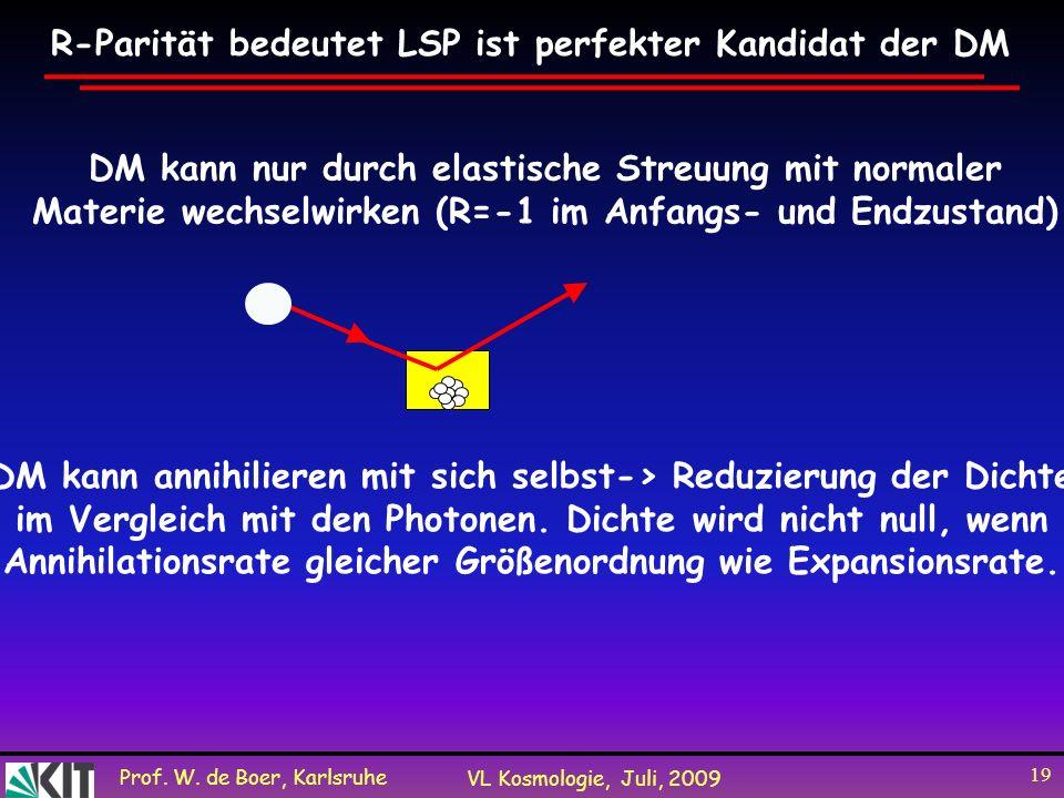 Prof. W. de Boer, Karlsruhe VL Kosmologie, Juli, 2009 19 R-Parität bedeutet LSP ist perfekter Kandidat der DM DM kann nur durch elastische Streuung mi