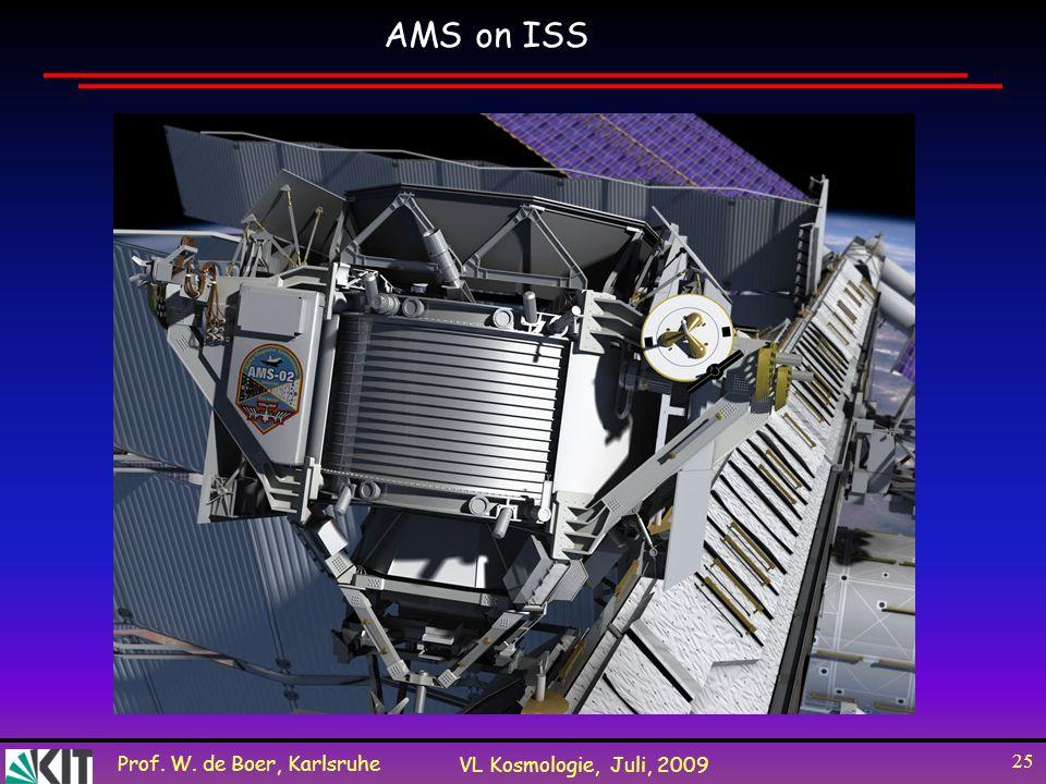 Prof. W. de Boer, Karlsruhe VL Kosmologie, Juli, 2009 25 AMS on ISS