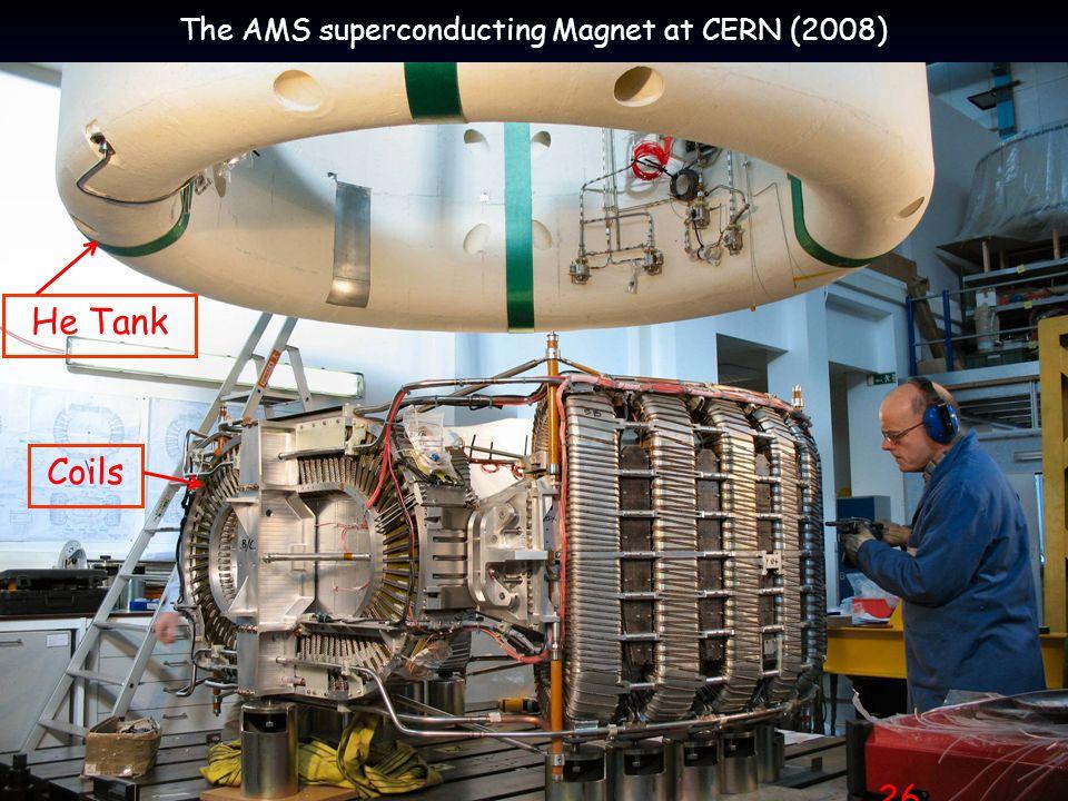 Prof. W. de Boer, Karlsruhe VL Kosmologie, Juli, 2009 26 The AMS superconducting Magnet at CERN (2008) 26 Coils He Tank