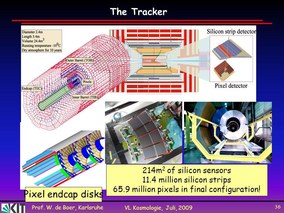 Prof. W. de Boer, Karlsruhe VL Kosmologie, Juli, 2009 36 Pixel endcap disks 214m 2 of silicon sensors 11.4 million silicon strips 65.9 million pixels