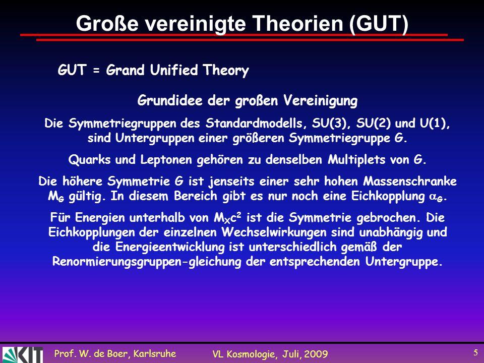 Prof. W. de Boer, Karlsruhe VL Kosmologie, Juli, 2009 5 Große vereinigte Theorien (GUT) GUT = Grand Unified Theory Grundidee der großen Vereinigung Di