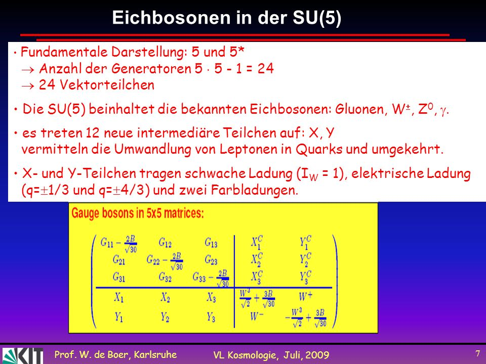 Prof. W. de Boer, Karlsruhe VL Kosmologie, Juli, 2009 7 Eichbosonen in der SU(5) Fundamentale Darstellung: 5 und 5* Anzahl der Generatoren 5 5 - 1 = 2