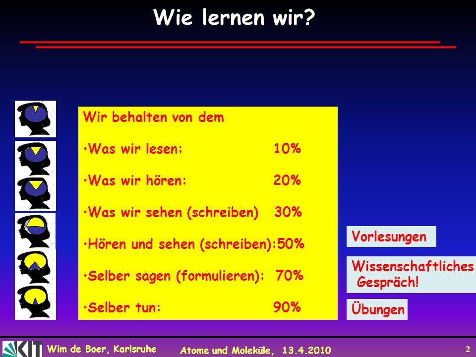 Wim de Boer, Karlsruhe Atome und Moleküle, 13.4.2010 2 Wissenschaftliches Gespräch! Übungen Wir behalten von dem Was wir lesen: 10% Was wir hören: 20%