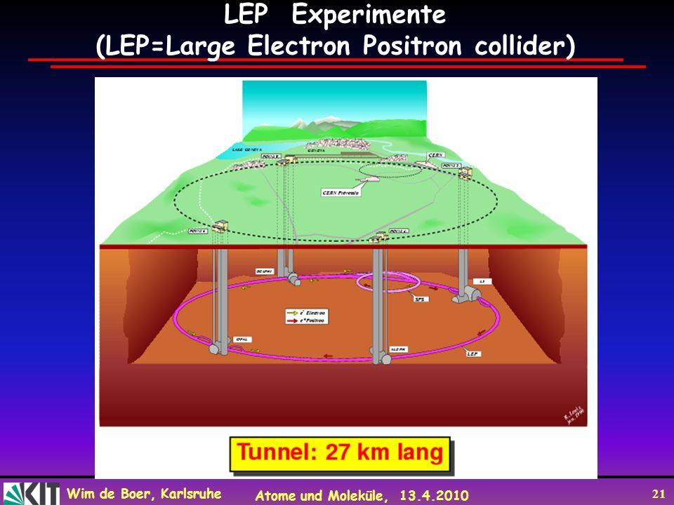 Wim de Boer, Karlsruhe Atome und Moleküle, 13.4.2010 21 LEP Experimente (LEP=Large Electron Positron collider)