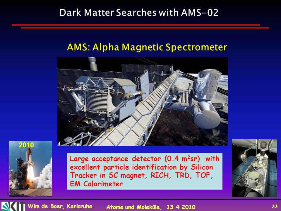 Wim de Boer, Karlsruhe Atome und Moleküle, 13.4.2010 33 AMS: Alpha Magnetic Spectrometer Dark Matter Searches with AMS-02 2010 Large acceptance detect