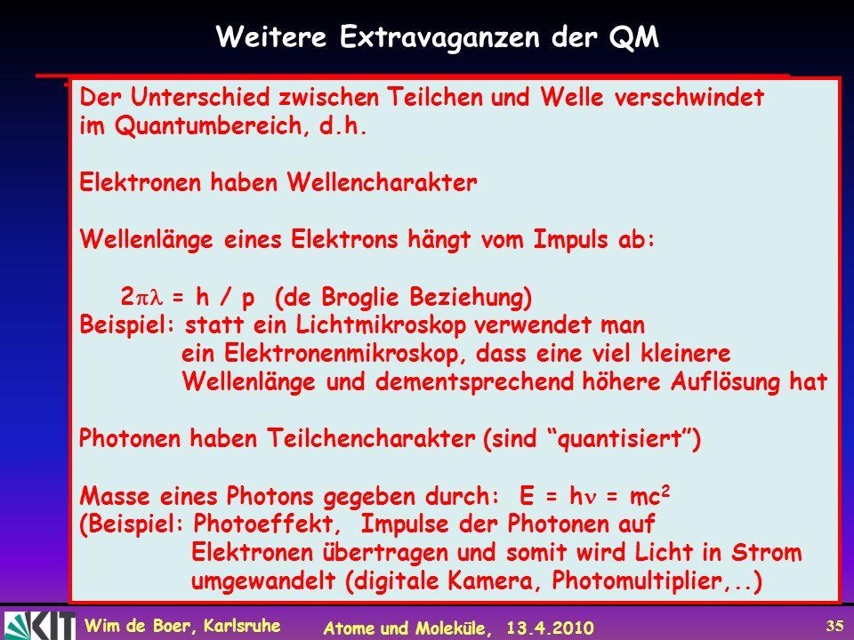 Wim de Boer, Karlsruhe Atome und Moleküle, 13.4.2010 35 Weitere Extravaganzen der QM Der Unterschied zwischen Teilchen und Welle verschwindet im Quant