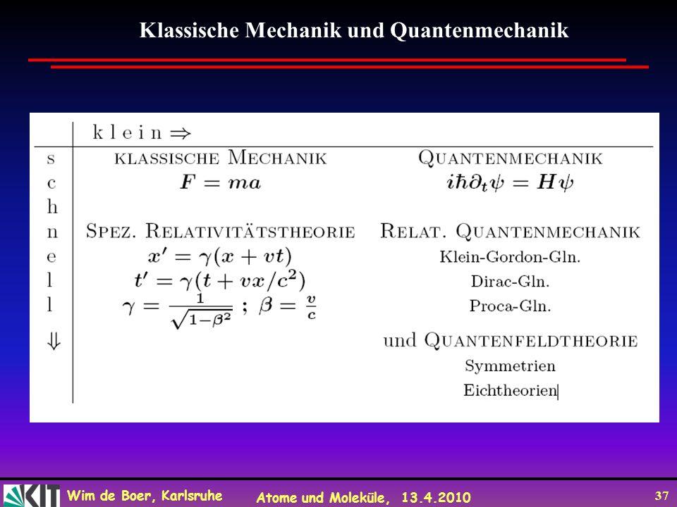 Wim de Boer, Karlsruhe Atome und Moleküle, 13.4.2010 37 Klassische Mechanik und Quantenmechanik