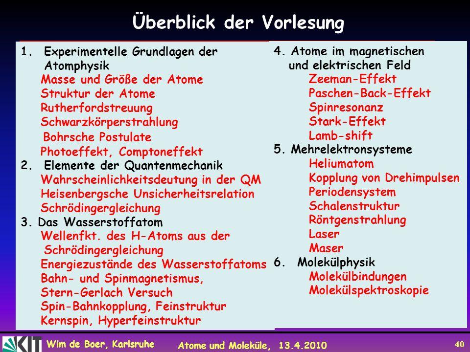 Wim de Boer, Karlsruhe Atome und Moleküle, 13.4.2010 40 Überblick der Vorlesung 1.Experimentelle Grundlagen der Atomphysik Masse und Größe der Atome S