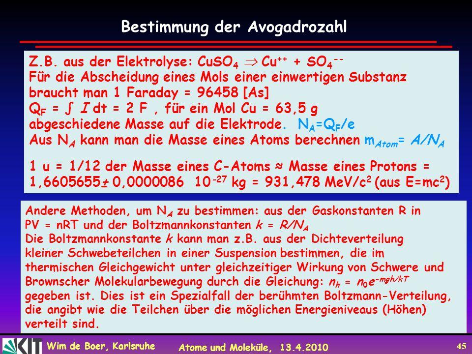 Wim de Boer, Karlsruhe Atome und Moleküle, 13.4.2010 45 Z.B. aus der Elektrolyse: CuSO 4 Cu ++ + SO 4 -- Für die Abscheidung eines Mols einer einwerti