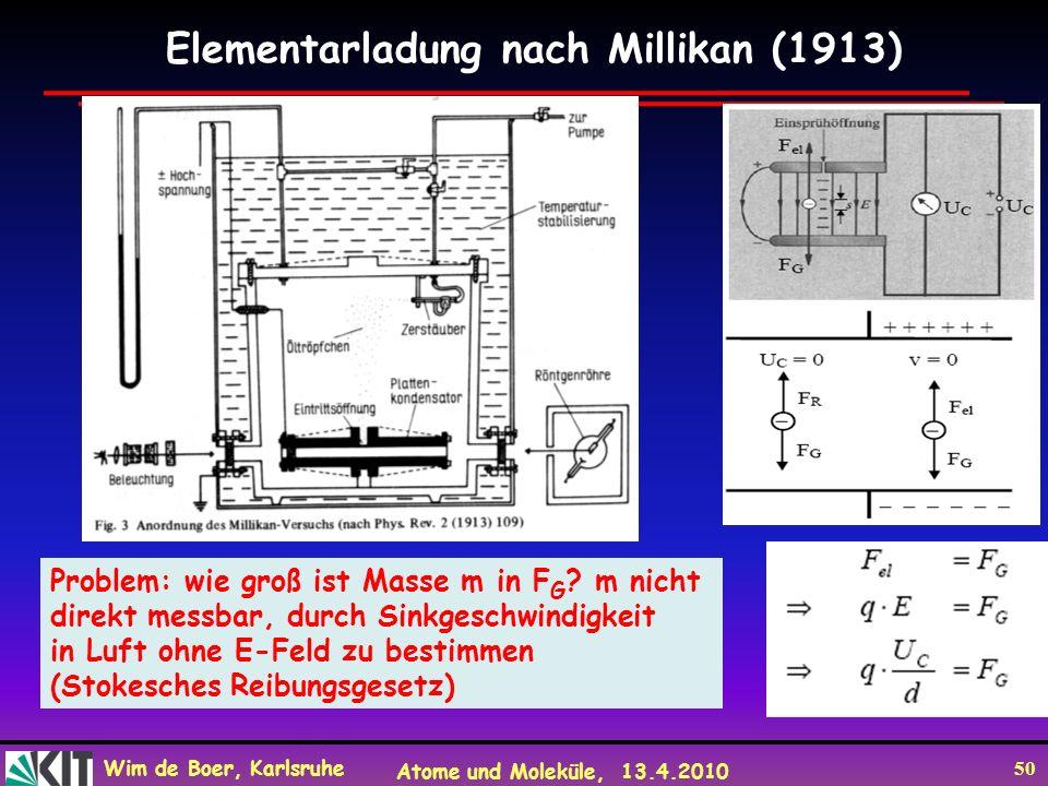 Wim de Boer, Karlsruhe Atome und Moleküle, 13.4.2010 50 Elementarladung nach Millikan (1913) Problem: wie groß ist Masse m in F G ? m nicht direkt mes