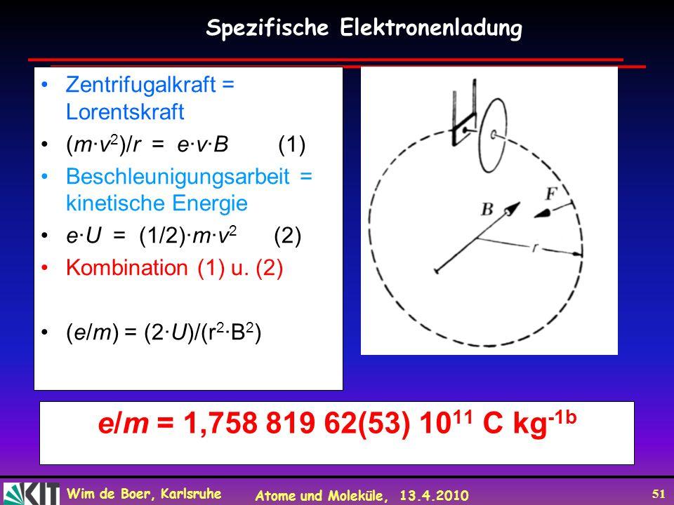 Wim de Boer, Karlsruhe Atome und Moleküle, 13.4.2010 51 e/m = 1,758 819 62(53) 10 11 C kg -1b Zentrifugalkraft = Lorentskraft (m·v 2 )/r = e·v·B (1) B