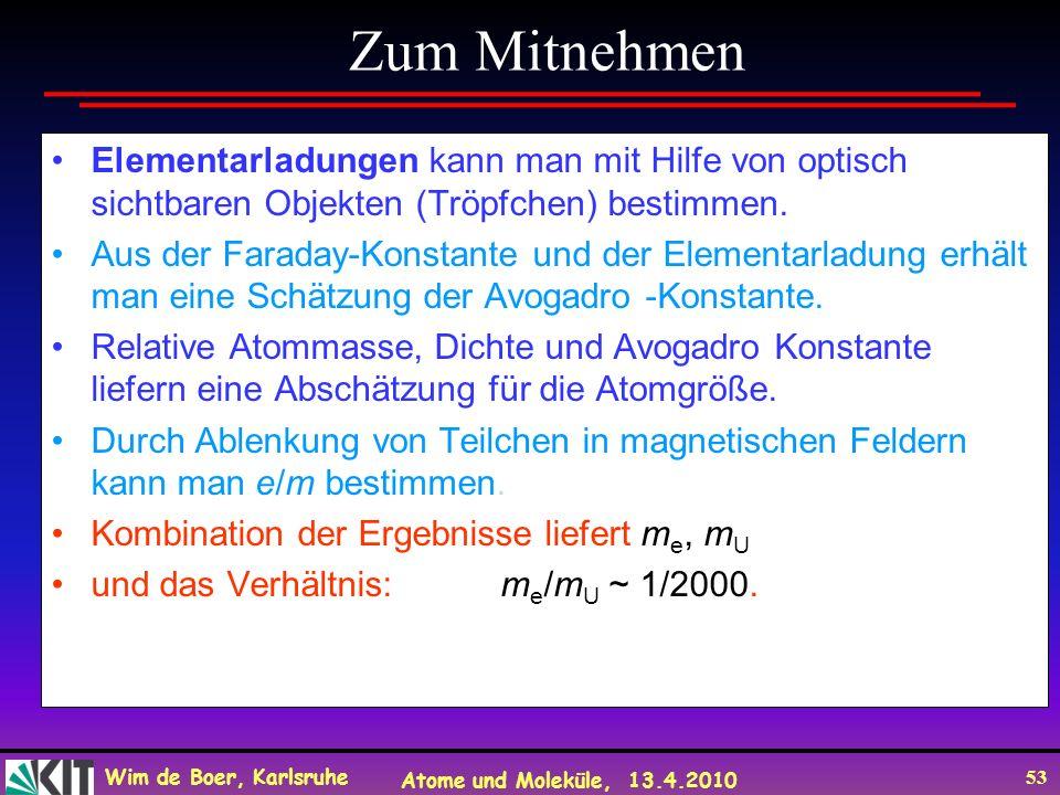 Wim de Boer, Karlsruhe Atome und Moleküle, 13.4.2010 53 Elementarladungen kann man mit Hilfe von optisch sichtbaren Objekten (Tröpfchen) bestimmen. Au