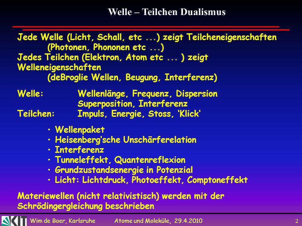 Wim de Boer, Karlsruhe Atome und Moleküle, 29.4.2010 1 Vorlesung 6: Roter Faden: Schrödingergleichung Messungen in der Quantenmechanik Folien auf dem