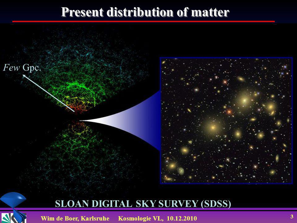 Wim de Boer, KarlsruheKosmologie VL, 10.12.2010 3 SLOAN DIGITAL SKY SURVEY (SDSS) Few Gpc. Present distribution of matter