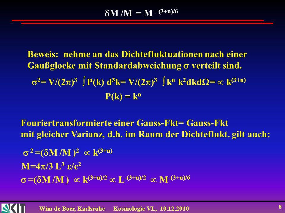 Wim de Boer, KarlsruheKosmologie VL, 10.12.2010 8 M /M = M –(3+n)/6 Beweis: nehme an das Dichtefluktuationen nach einer Gaußglocke mit Standardabweichung verteilt sind.