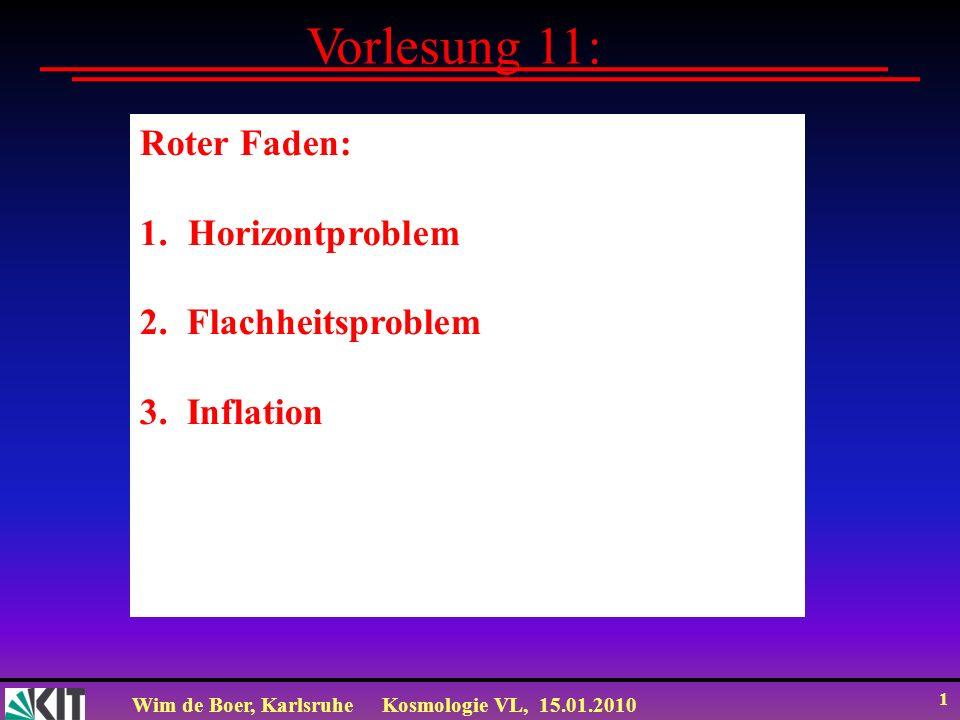 Wim de Boer, KarlsruheKosmologie VL, 15.01.2010 1 Vorlesung 11: Roter Faden: 1.Horizontproblem 2. Flachheitsproblem 3. Inflation